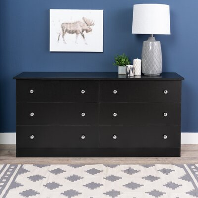 Paducah 6 Drawer Double Dresser Color: Black