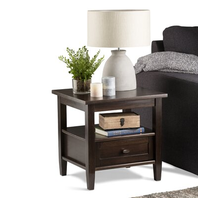 Bruno 1 Drawer End Table Finish: Tobacco Brown