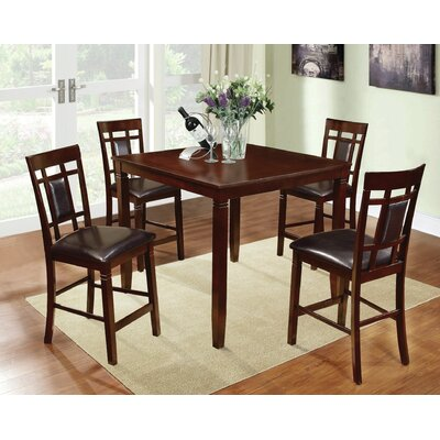 Boston 5 Piece Counter Height Dining Set Finish: Dark Brown