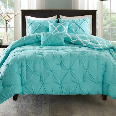 Alvordton 5 Piece Reversible Comforter Set Size: King/California King, Color: Aqua