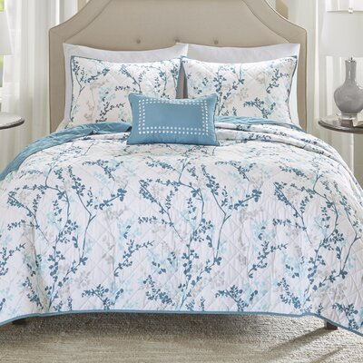 Amber Oak 4 Piece Coverlet Set Size: King/California King, Color: Blue