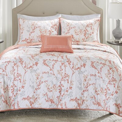 Amber Oak 4 Piece Coverlet Set Size: King/California King, Color: Coral