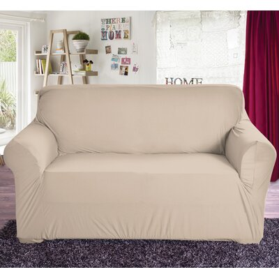 Polyester Loveseat Slipcover Color: Beige