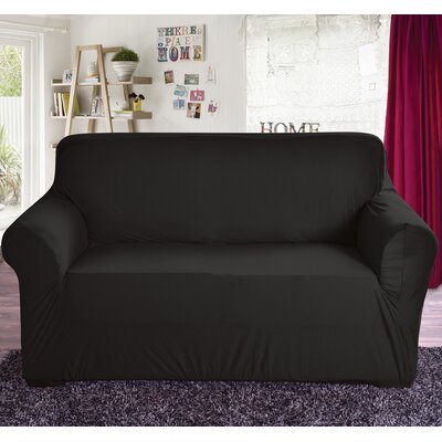 Polyester Loveseat Slipcover Color: Black