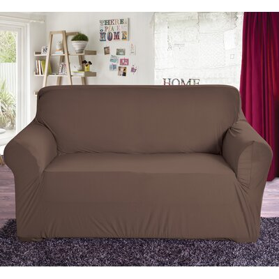Box Cushion Loveseat Slipcover Color: Brown