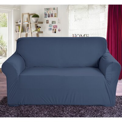 Polyester Loveseat Slipcover Color: Navy
