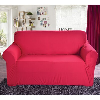 Polyester Loveseat Slipcover Color: Red