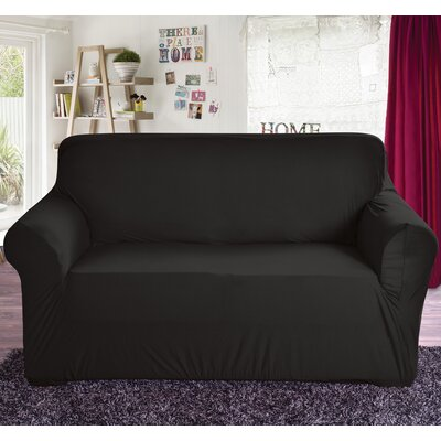 Box Cushion Loveseat Slipcover Color: Black