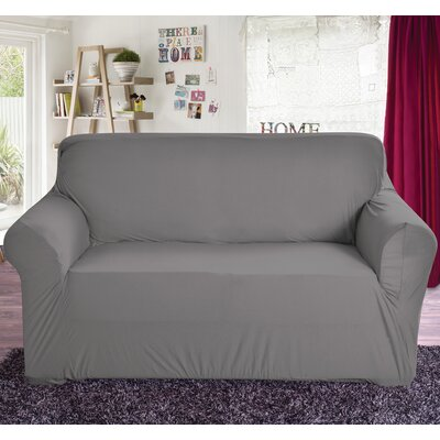 Polyester Loveseat Slipcover Color: Gray
