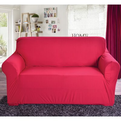 Box Cushion Loveseat Slipcover Color: Red