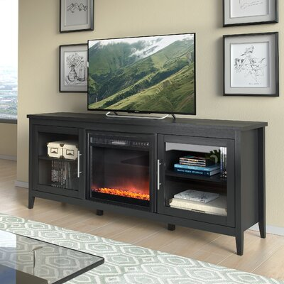 Starkville 71 TV Stand with Optional Fireplace Color: Black Wood Grain, Fireplace Included: Yes