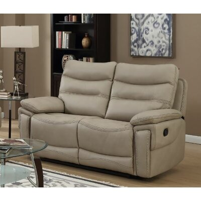 Adair Leather Loveseat Upholstery: Faux Leather Beige