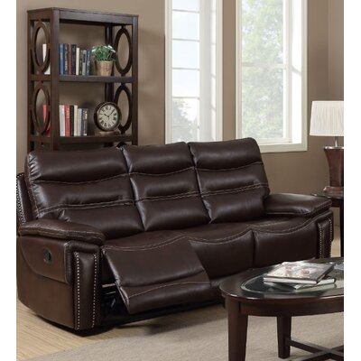 Adcox Leather Sofa Upholstery: Faux Leather Brown