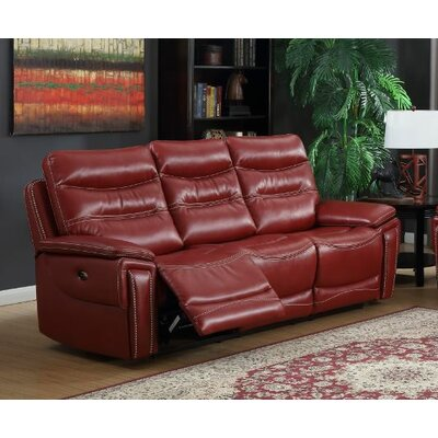 Adcox Leather Reclining Sofa Upholstery: Faux Leather Red