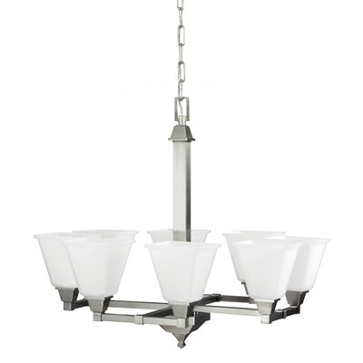 Aleshire 8-Light Shaded Chandelier Finish: Brushed Nickel, Bulb Type: 100W A19 Medium