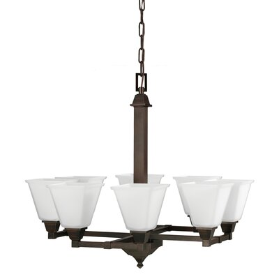 Aleshire 8-Light Shaded Chandelier Finish: Burnt Sienna, Bulb Type: 100W A19 Medium