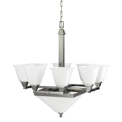 Aleshire 10-Light Shaded Chandelier Bulb Type: 100W A19 Medium, Finish: Brushed Nickel