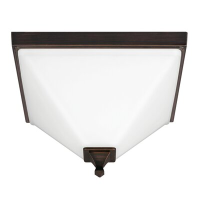 Aleshire 2-Light Flush Mount Finish: Burnt Sienna, Bulb Type: 60W A19 Medium