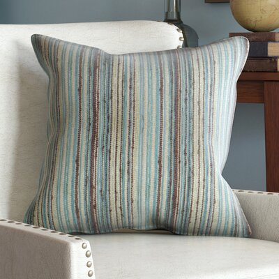Bourdeau Stripes Throw Pillow Color: Blue Brown, Size: 20 x 20