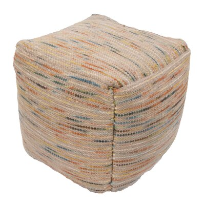 Andrews Textural Wool and Cotton Pouf Ottoman Upholstery: Multi