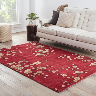 Anselmo Cherry Blossom Red Area Rug Rug Size: Rectangle 7'6
