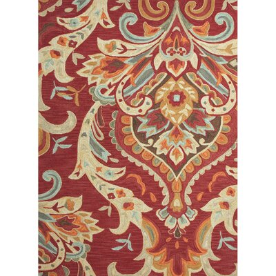 Anselmo Burgundy Floral Area Rug Rug Size: Rectangle 76 x 96