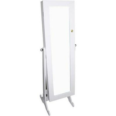 Bryonhall Standing Storage Jewelry Armoire with Mirror Color: White