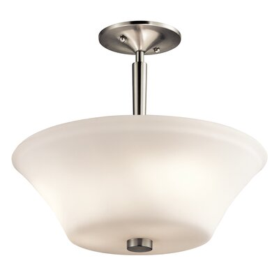 Bergstrom 3-Light LED Semi Flush Mount Finish: Brushed Nickel