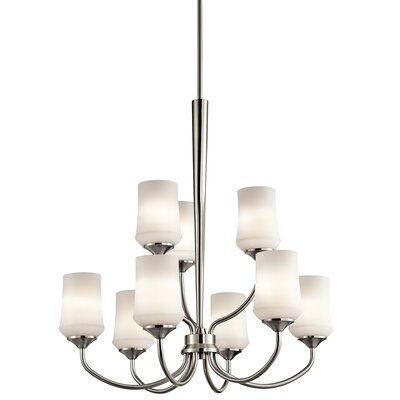 Bergstrom 9-Light Shaded Chandelier Finish: Brushed Nickel