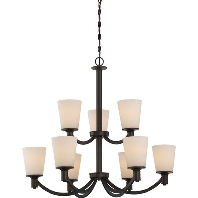 Cumberbatch 2 Tier 9-Light Shaded Chandelier Finish: Forest Bronze