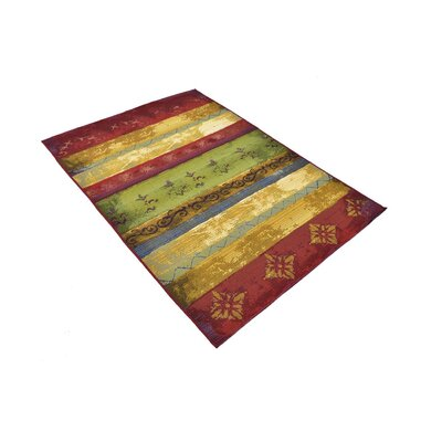 Aroma Red/Green Indoor/Outdoor Area Rug Rug Size: Rectangle 53 x 8