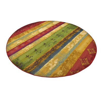 Aroma Red/Green Indoor/Outdoor Area Rug Rug Size: Round 8