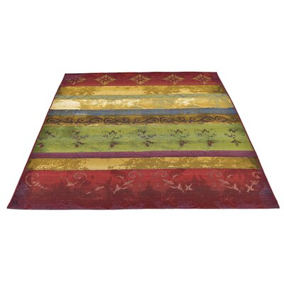 Aroma Red/Green Indoor/Outdoor Area Rug Rug Size: Runner 2 x 6