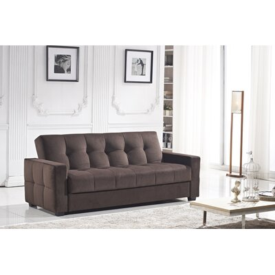 Russell Convertible Sofa Color: Dark Brown