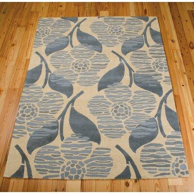 Roseland Hand-Tufted Wool Beige/Blue Area Rug Rug Size: 36 x 56