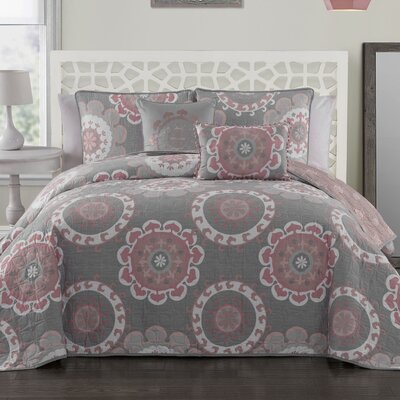 Bader 5-Piece Reversible Quilt Set Color: Coral, Size: Queen