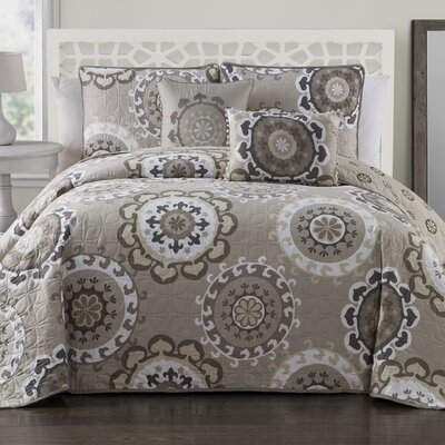 Bader 5-Piece Reversible Quilt Set Color: Taupe, Size: Queen