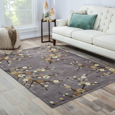 Anselmo Cherry Blossom Hand-Tufted Gray/Yellow Area Rug Rug Size: Rectangle 76 x 96