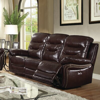 Melanson Reclining Sofa Upholstery: Brown
