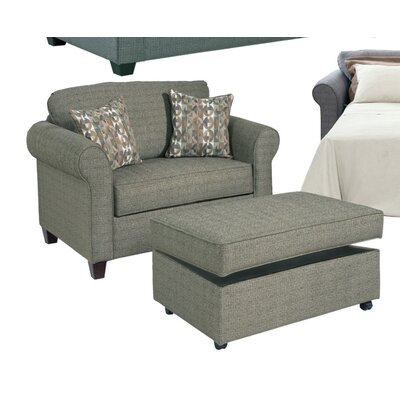 Serta Upholstery Blackmon Convertible Chair and a Half Fabric: Burbank Forest / Dana Point One