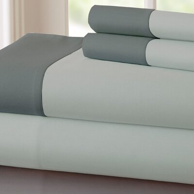 Bilbrey 400 Thread Count Sheet Set Color: Silver / Charcoal, Size: King