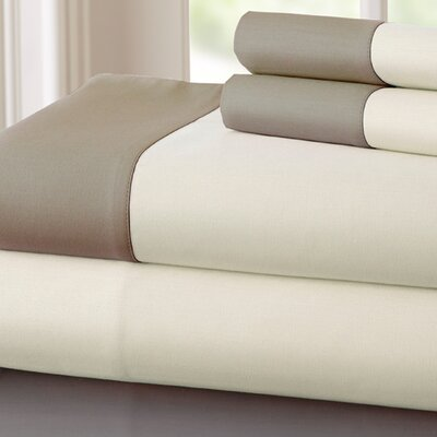Bilbrey 400 Thread Count Sheet Set Size: Full, Color: Linen / Mocha