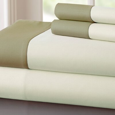 Bilbrey 400 Thread Count Sheet Set Size: Queen, Color: Ivory / Taupe