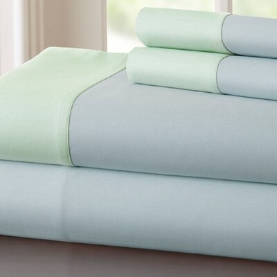 Bilbrey 400 Thread Count Sheet Set Size: King, Color: Blue / Soft Jade