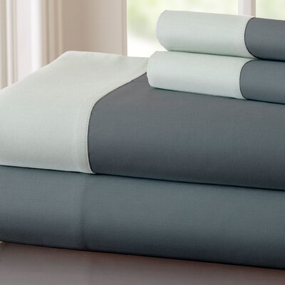 Bilbrey 400 Thread Count Sheet Set Size: Queen, Color: Charcoal / Silver
