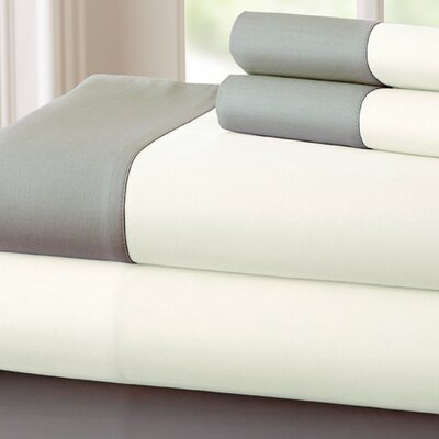 Bilbrey 400 Thread Count Sheet Set Size: California King, Color: White / Gray