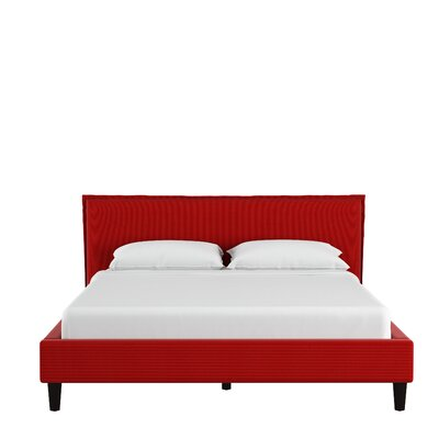 Highview Seamed Duck Upholstered Platform Bed Color: Red, Size: King