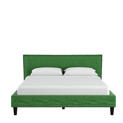 Highview Seamed Linen Upholstered Linen Platform Bed Color: Kelly Green, Size: Queen