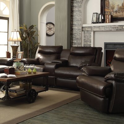 Hughes Leather Reclining Loveseat