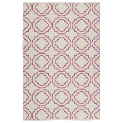 Bockman Cream/Pink Indoor/Outdoor Area Rug Rug Size: 3' x 5'